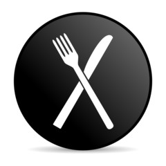 food black circle web glossy icon