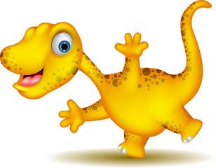 cute yellow dinosaur cartoon