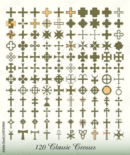 Collection of 120 isolated classic crosses