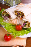 Hot fresh and tasty shawarma with vegetables