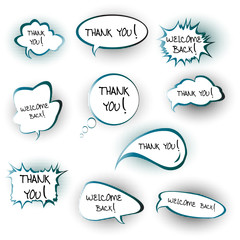 Chat bubbles with Thank you and Welcome back messages