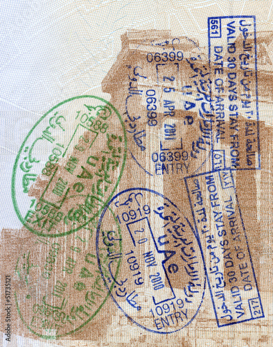 Background of passport stamps closeup