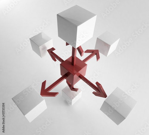 White 3d cube with mini red cube | Concept