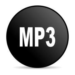 mp3 black circle web glossy icon