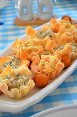 Cheese balls with Mushrooms and Olivier salad