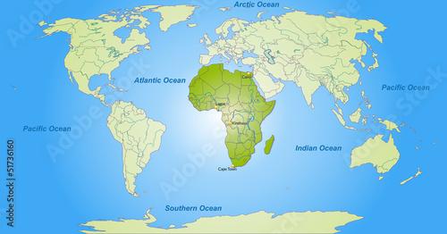 Staande foto Wereldkaart Landkarte von Afrika und der Welt