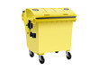 Yellow recycling container for plastic isolated