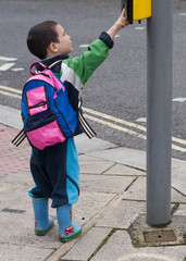 Child at pedestrian crossing