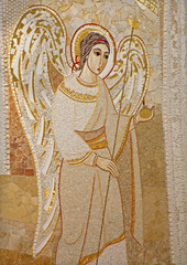 Madrid - Modern mosaic of angel in Almudena cathedral