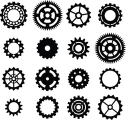 set: black cogwheel