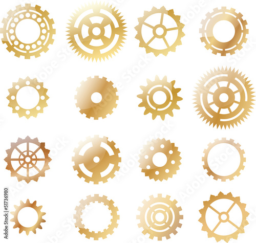set: gold yellow cogwheel