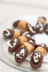 Chocolate dipped Cannolis