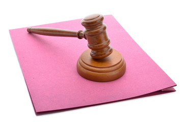 Judge gavel and soundboard on official law file