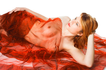 Beautiful redhead in a red scarves