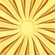 Golden sunburst background with rays and beams