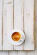 espresso coffee in white cup on old rustic  style table