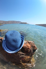 Beautiful sea landscape with hat. Elounda