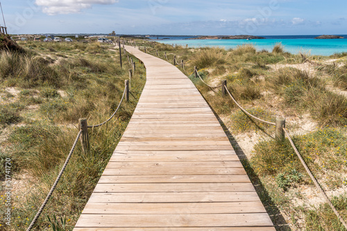 Beach way to Illetes beach in Formentera Balearic islands