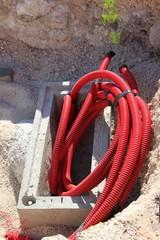Boîte de raccordement de câbles électriques enterrés