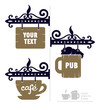 wooden decorative signs for cafe