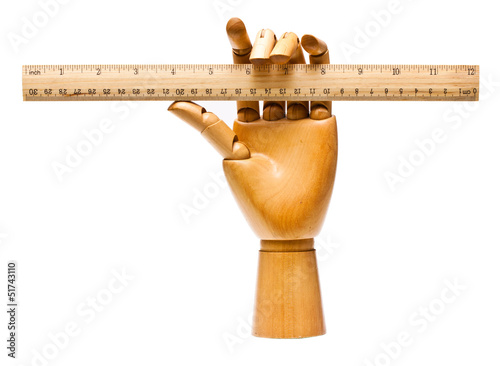 Wooden hand and ruler