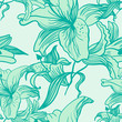 Seamless vector pattern with lilies