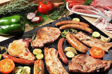 barbecue porc merguez et saucisses 3