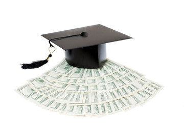 Paid education. Graduate cap on bank notes