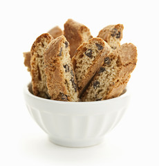 Biscotti cookies in bowl