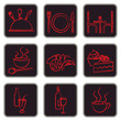 Elegant red and black restaurant related icons