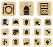 Restaurant food and drink icons set