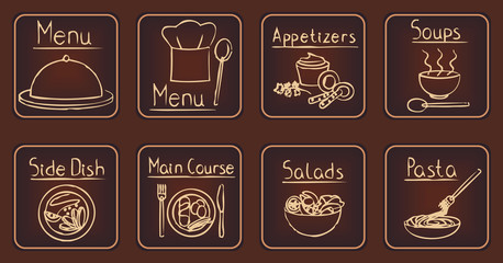 Elegant brown restaurant related icons set 1