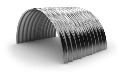 Curved corrugated metal sheet