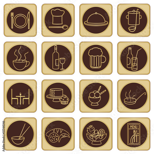 Golden brown restaurant icons set