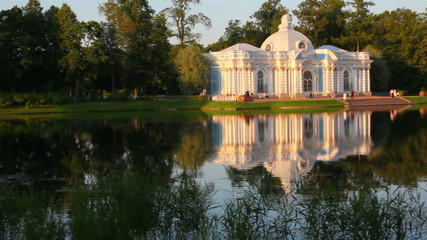 pavilion on lake in Pushkin park St. Petersburg Russia at sunset