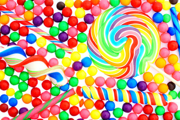 Colorful background of an assortment of candy
