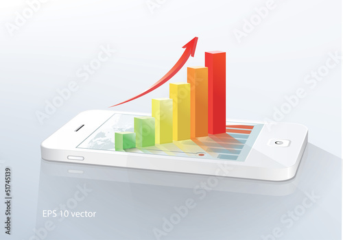 smartphone  with bar chart.