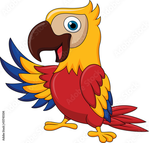 Macaw bird carton waving