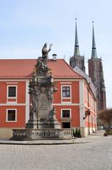 Breslau Dominsel mit katholischen Monument