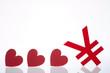 Yuan and hearts sign