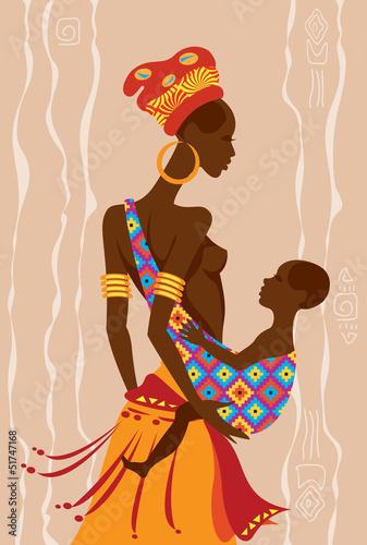 Fototapeten,belle,afrikanisch,mutter,baby