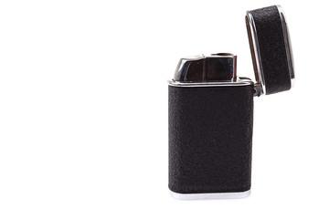 Metal lighter on white background, Black color