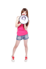 Teen girl with megaphone