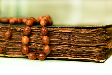 Muslim rosary on the holy qoran