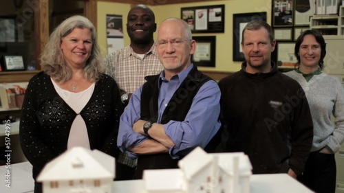 Business team, architects, dolly shot