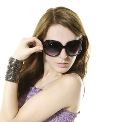 Beautiful woman with sunglasses isolated