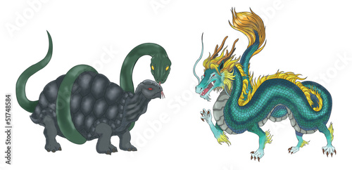 4 Chinese mythical creature gods set 2 - Turtle and Dragon