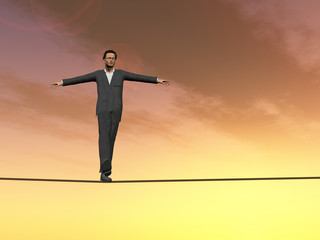 A businessman in crisis walking in balance