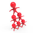 Little red men form a pyramid