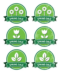 Spring sale retro green round labels - grunge style